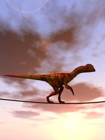 sky metaphor: Conceptual business metaphor as animal or rope over sunset sky background