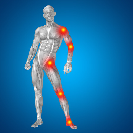 Conceptual 3D human man anatomy joint pain body on blue background Фото со стока