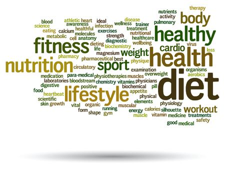 nutrition health: Conceptual abstract word cloud on white background as metaphor for health, nutrition, diet