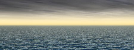Conceptueel golven op zee of oceaan water en zonsondergang hemel cloudscape exotische of paradijs achtergrond banner Stockfoto