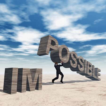 Concept conceptual 3D business man lifting an abstract stone impossible text on sky background Stock Photo