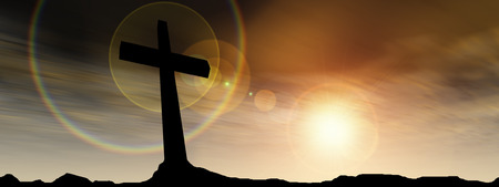 Conceptual black cross or religion symbol silhouette in rock landscape over a sunset background banner