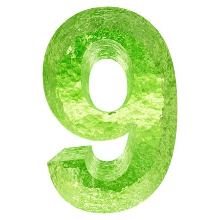 ice font: Conceptual 3D green water or ice font part of set or collection isolated on white background for winter
