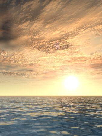 cloudy sky: Conceptual sea or ocean water waves and sunset sky background Stock Photo