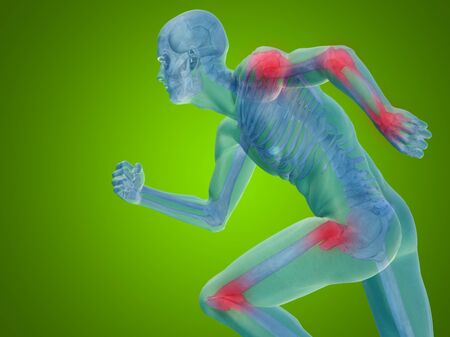articular: Conceptual human body anatomy articular pain on green background