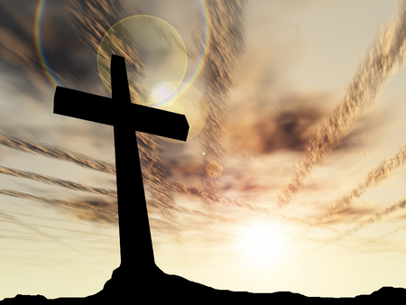 cruz de jesus: Conceptual cruz de color negro o religión símbolo silueta en el paisaje de roca sobre un fondo de la puesta del sol