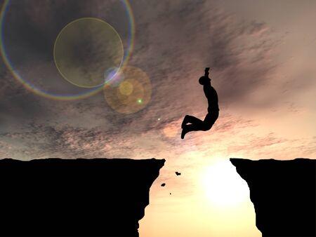 vida sana: Concepto o conceptual hombre de negocios silueta saltando en el fondo del cielo puesta de sol