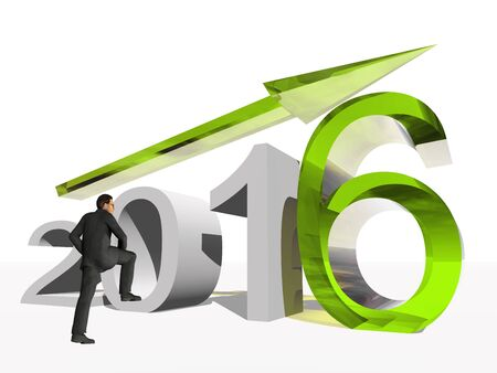 year increase: Conceptual 3D human,man or businessman standing over an green 2016 year symbol with an arrow isolated on white background
