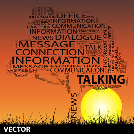 announcing: Vector conceptual contact technology tree at sunset  word cloud with sun and grass