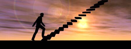onderwijs: Concept of conceptuele 3D mannelijke zakenman op de trap of stappen over zonsondergang hemel achtergrond banner