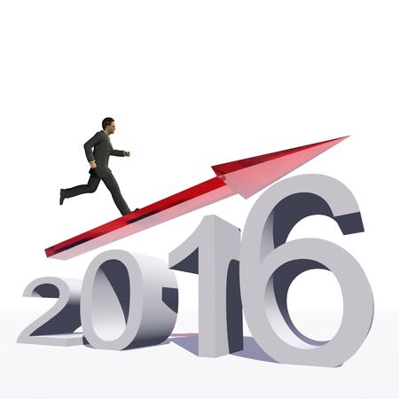 year increase: Conceptual 3D  human,man or businessman standing over an red 2016 year symbol with an arrow isolated on white background