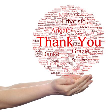 multilingual: Concept or conceptual abstract thank you word cloud held in hands different language, multilingual as education or thanksgiving day
