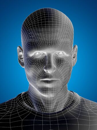 computer simulation: Concept or conceptual 3D wireframe young human male or man face or head on blue background