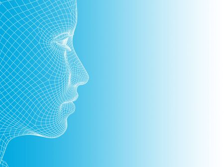 computer simulation: Concept or conceptual 3D wireframe young human female or woman face or head on white and blue background