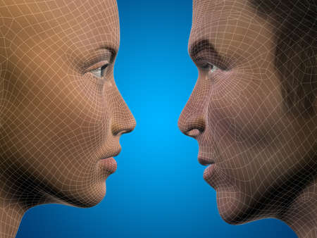 computer simulation: Concept or conceptual 3D wireframe or mesh human male and female head on blue background Stock Photo