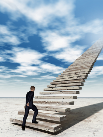sky metaphor: Conceptual 3D business man walking or climbing stair on sky background with clouds, metaphor to success