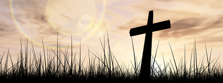 christian faith: Concept conceptual black cross or religion symbol silhouette in grass over a sunset or sunrise sky with sunlight clouds background banner Stock Photo