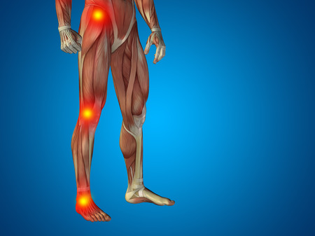 articular: Conceptual human body anatomy articular pain blue background Stock Photo