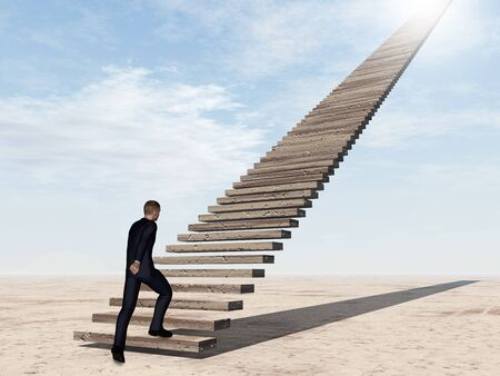 conceptual ideas: Conceptual 3D business man walking or climbing stair on sky background with clouds
