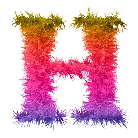hairy: Concept conceptual 3D abstract colorful hair or fur decorative font as part of a set or collection isolated on white background