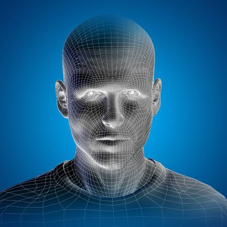 male face: Concept or conceptual 3D wireframe young human male or man face or head on blue background