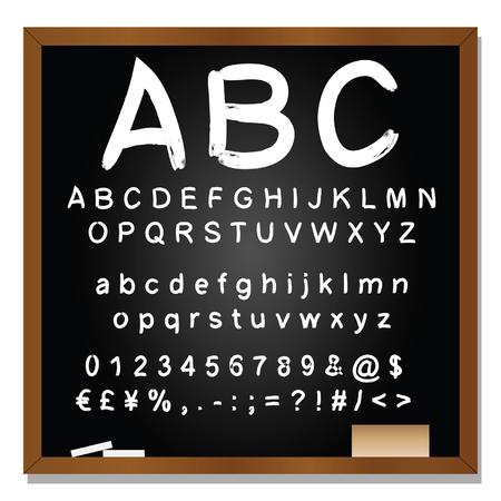 lettres alphabet: Vector set conceptuelle ou collection de manuscrits blanc, croquis ou polices gribouiller isolé sur fond tableau noir