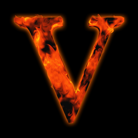 flamboyant: Conceptual red hot burning fire font  in red and orange flames isolated on black background