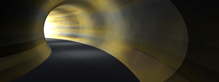 light at the end of the tunnel: Conceptual dark abstract road tunnel with bright light at the end background banner