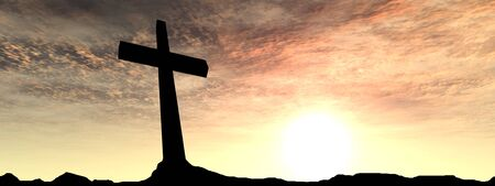 beautiful jesus: Conceptual black cross or religion symbol silhouette in rock landscape over a sunset background banner