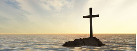 christian faith: Conceptual Christian cross on a little rock island in the ocean or sea with waves and the sky at sunset banner