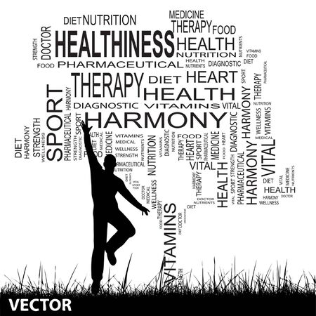 man jumping: Vector concept or conceptual black health text word cloud as tree and grass, a man jumping isolated on white background