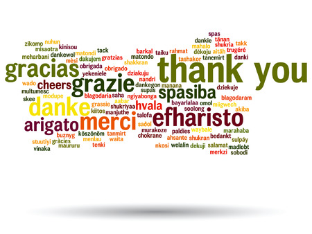 word clouds: Vector conceptual thank you word cloud isolated for business or Thanksgiving Day