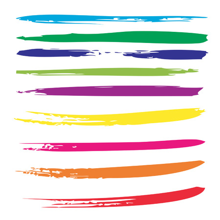 Vector collection or set of colorful paint hand made creative brush strokes isolated on white background