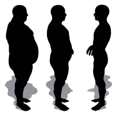 concetto di vettore o il grasso 3D concettuale sovrappeso vs dieta slim fit con i muscoli giovane isolato su sfondo bianco