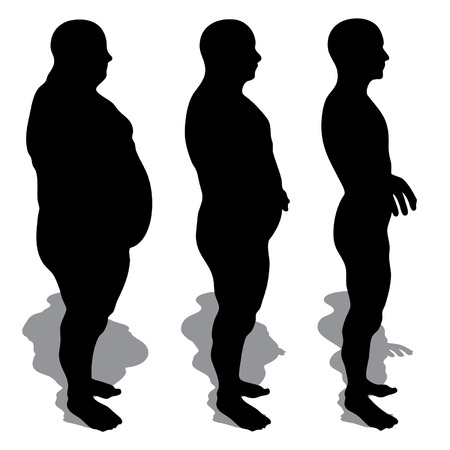 nude male body: Vector concept or conceptual 3D fat overweight vs slim fit diet with muscles young man isolated on white background Illustration