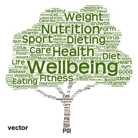 Nube conceptual de la palabra del árbol de la dieta o de la nutrición de la salud aislada en fondo