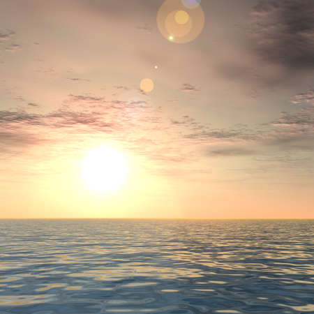 ocean waves: Conceptual sea or ocean water waves and sunset sky background Stock Photo