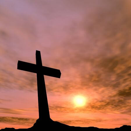 beautiful jesus: Conceptual black cross or religion symbol silhouette in rock landscape over a sunset background Stock Photo