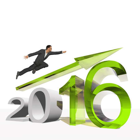 year increase: Conceptual 3D human,man or businessman flying  over an green 2016 year symbol with an arrow isolated on white background Stock Photo