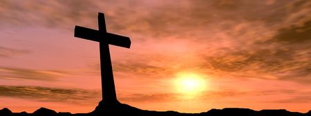 Conceptuele zwart kruis of religie symbool silhouet in rock landschap over een zonsondergang achtergrond banner Stockfoto