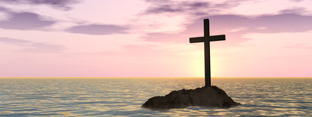 Conceptual Christian cross on a little rock island in the ocean or sea with waves and the sky at sunset banner Stock Photo