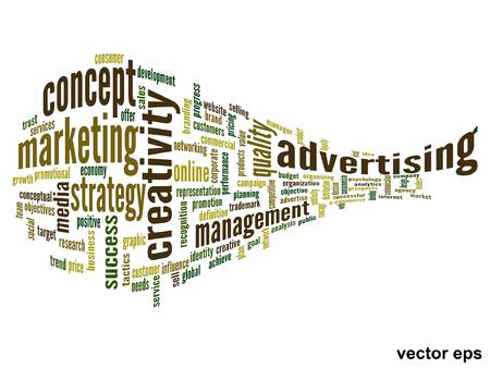 マーケティングの背景に分離された単語雲概念ベクトル概念ビジネス