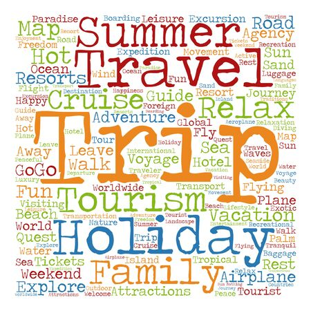 tagcloud: Concept or conceptual colorful travel or tourism text word cloud tagcloud isolated on white background Stock Photo