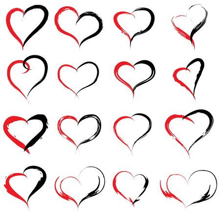 painted background: Concept or conceptual painted red black heart shape or love symbol set or collection, made by a happy child at school isolated on white background