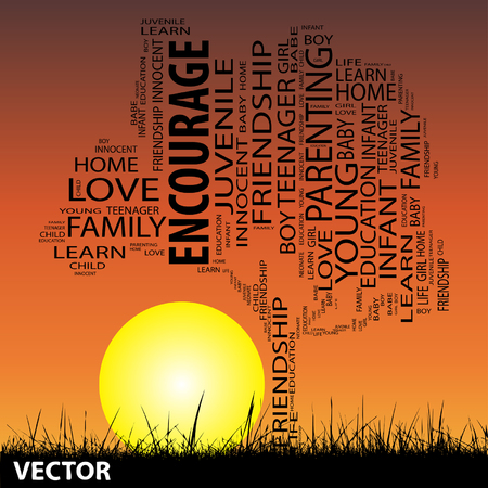 encourage: Vector conceptual encourage tree at sunset word cloud with sun and grass