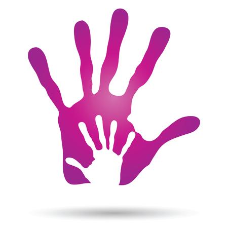 infancia: Vector conceptual de impresión madre y el niño la mano aisladas sobre fondo blanco