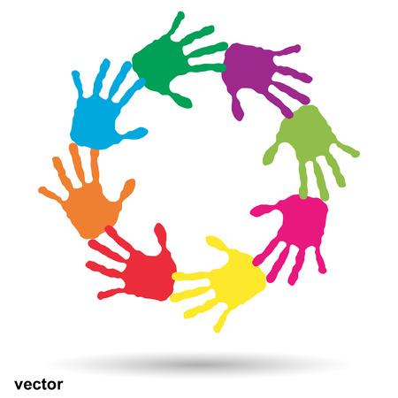 Vector concept of conceptueel kinderen geschilderde hand afdrukken op een witte achtergrond
