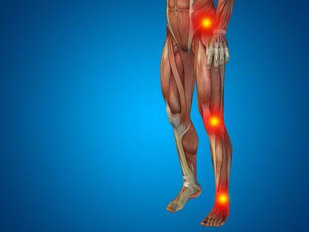 osteoporosis: Conceptual human body anatomy articular pain blue background Foto de archivo