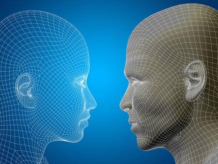 Concetto o concettuale wireframe 3D o maglia maschio umano e testa femminile su sfondo blu