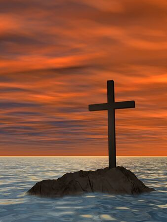 almighty: Conceptual Christian cross on a little rock island in the ocean or sea with waves and the sky at sunset
